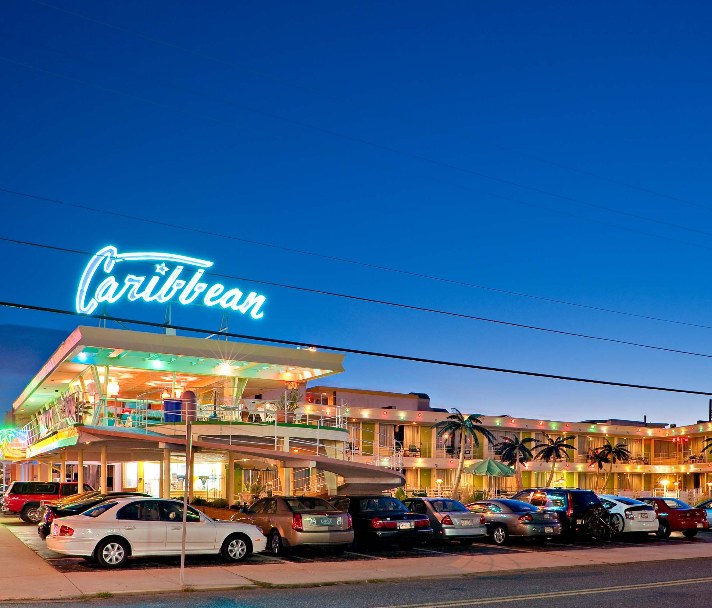 Doo Wop Preservation, Caribbean Motel, Wildwood: Following the success of seaside resort hotels in Atlantic City, Asbury Park and Spring Lake, beach communities began to proliferate on the Shore's southern barrier islands. Once highways were built in