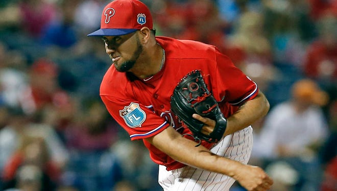 Phillies pitcher Edward Mujica pitches during the sixth inning Friday against the Toronto Blue Jays at Bright House Field.
