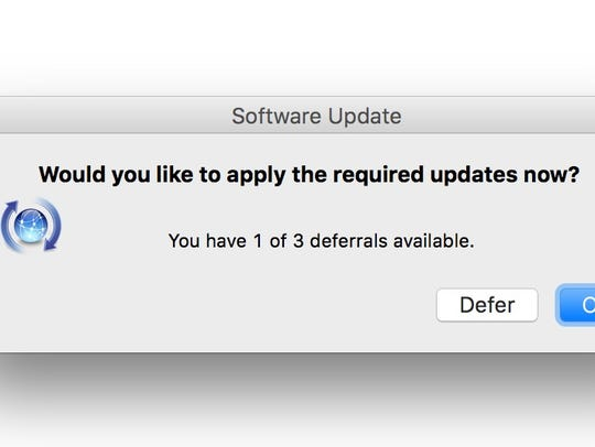 A software update notice on a Macintosh computer.