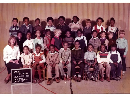 James Causey's third grade class at Samuel Clemens Elementary School in Milwaukee: He is the fourth student from the left in the front row.