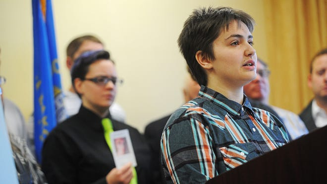 Thomas Lewis, an 18-year-old transgender student at Lincoln High School, speaks Friday during a news conference to speak out against legislation that groups have said would discriminate against transgender people.