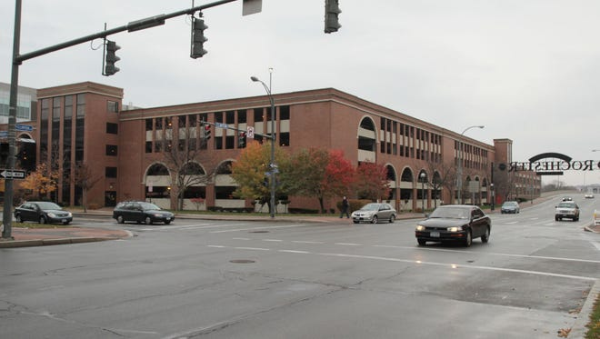 Washington Square Parking Garage is located on the corner of Woodbury Boulevard and North Clinton Avenue in Rochester on November 4, 2010.  Democrat and Chronicle staff photo by Tina Yee
