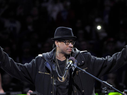 Mar 1, 2014; Philadelphia, PA, USA; Philadelphia 76ers former guard Allen Iverson during his jersey number retirement ceremony at halftime of game between the 76ers and Washington Wizards at Wells Fargo Center. Mandatory Credit: Eric Hartline-USA TODAY Sports