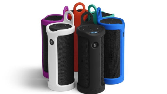 Amazon Echo Tap in a Sling case. The Tap is battery