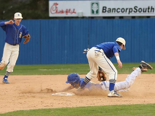 Riverside shortstop Cannon Duke makes an out at second base against Jackson Christian.