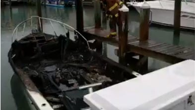A boat was badly damaged in a fire in Fort Pierce.