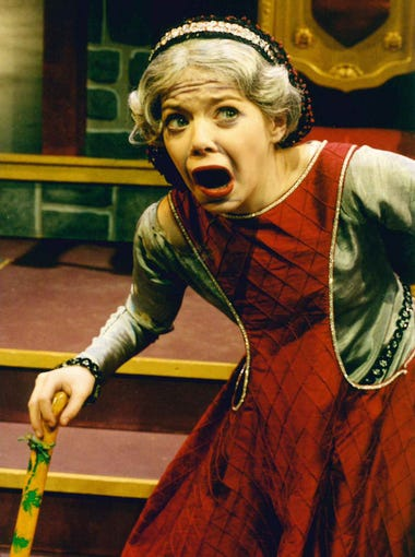 A teenage Emma Stone performing in a production of