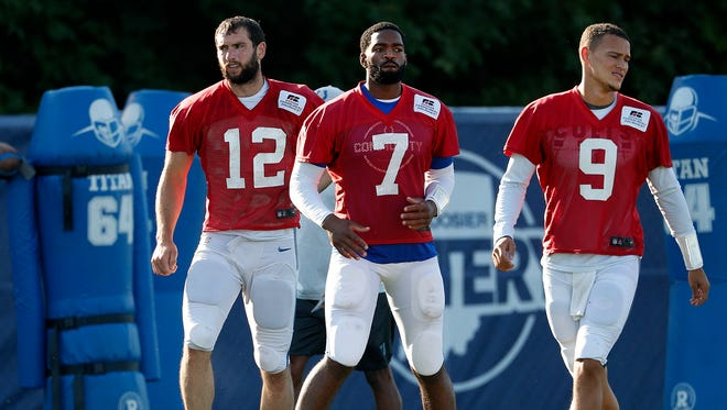 Indianapolis Colts quarterback Andrew Luck (12), left, Jacoby Brissett (7) and Brad Kaaya (9) during the Colts training camp at Grand Park in Westfield on Monday, August 6, 2018.
