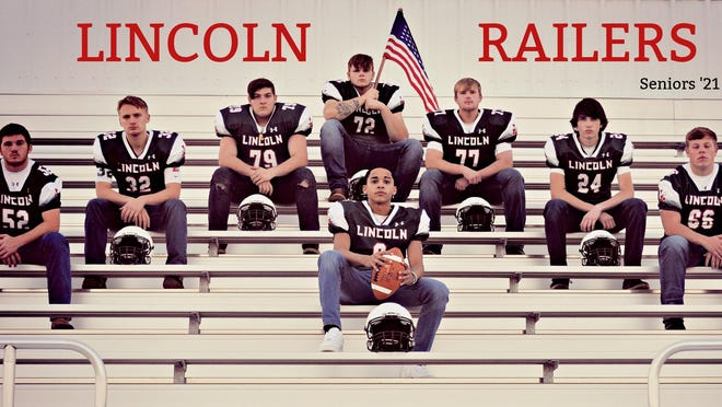 Lincoln Community High School Football seniors gathered for a photo recently in Lincoln. From left are: Jared Merriman, Raige Barger, Ryan Kennedy, Brayden Rohlfs, Tanner Strampp, Trent Butterfield, JR Lynn and Andre McAdams. The Railer season will play its first game of the season at 7 p.m Friday, March 5 at Handlin Field.