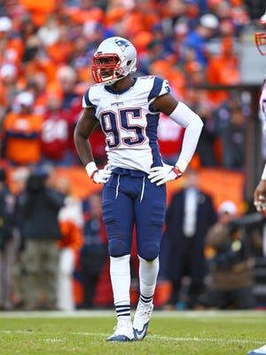 Jan 24, 2016: New England Patriots defensive end Chandler Jones (95) against the Denver Broncos in the AFC Championship football game at Sports Authority Field at Mile High.