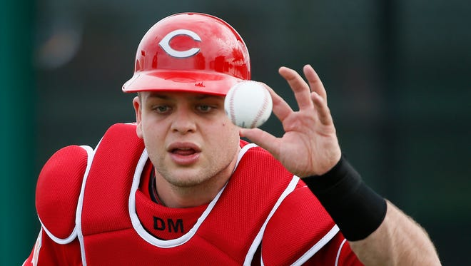 Cincinnati Reds catcher Devin Mesoraco (39) catches the ball with his bare hand during drills at Cincinnati Reds spring training, Thursday, Feb. 18, 2016, in Goodyear, Arizona.