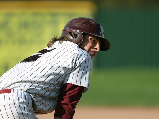 Newark's Ben Cowles on third base during a game against