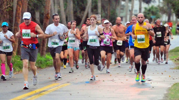 Strollers and dogs are often banned from longer events, such as marathons and half marathons. Craig Rubadoux FLORIDA TODAY