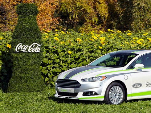 A Ford Fusion with seat fabric made from Coca Cola's plant-based materials will be displayed at the Los Angeles Auto Show next week