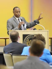 Wisconsin Department of Workforce Development Secretary Ray Allen speaks to participants at the Workforce Alignment Workshop at UW-Oshkosh Friday..