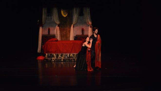 """Ananda Bena-Weber and Domingo Rubio as Lady and Lord Capulet in Sierra Nevada Ballet's """"Romeo and Juliet — The Ballet"""" at Oaks Park in Fallon."""