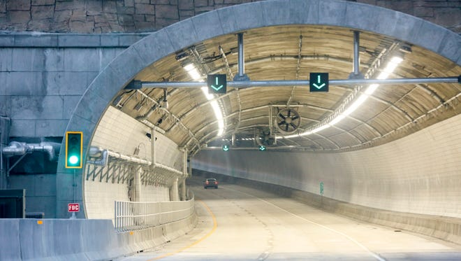 The tunnel that's part of the Kentucky approach to the new Lewis and Clark Bridge was built with the latest fire suppression technology. Dec. 23, 2016