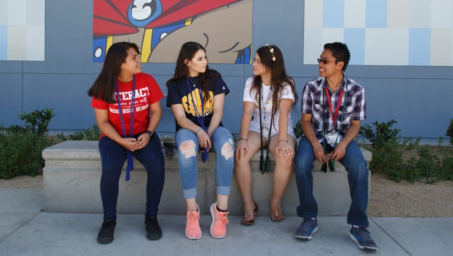 Eva Murillo, Jennifer Rocha, Xitlali Casarrubias, and Raymond Sarmiento, from left to right, are photographed at Indio High School, Tuesday, May 30, 2017.