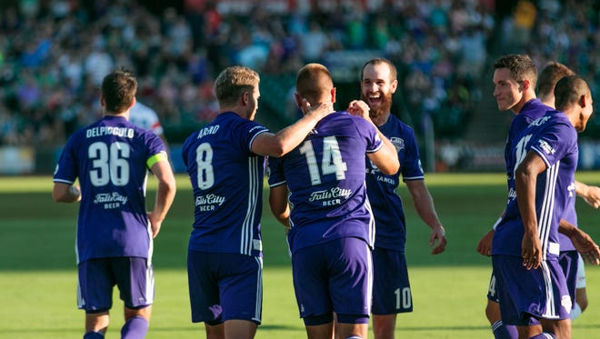 Players react during Saturday's Louisville City FC game against FC Cincinnati. July 15, 2017