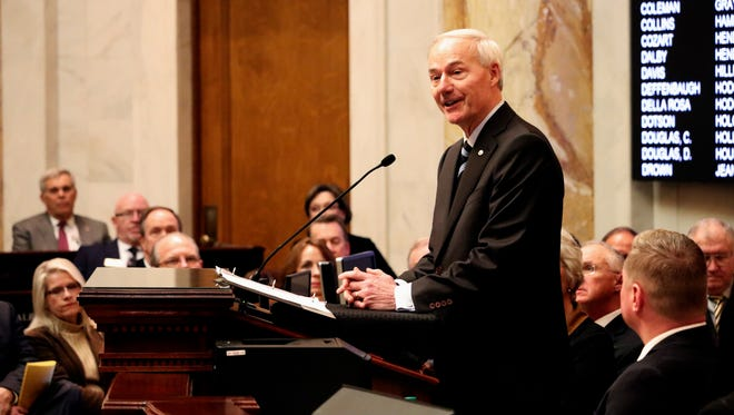 Arkansas Gov. Asa Hutchinson speaks to a joint session of legislators on Feb. 12 at the state Capitol in Little Rock. On Monday, Hutchinson announced a special session will be called to deal with pharmacy benefit managers.