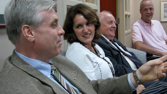 Former Muncie mayors Dan Canan (l-r), Sharon McShurley, Alan Wilson and David Dominick.