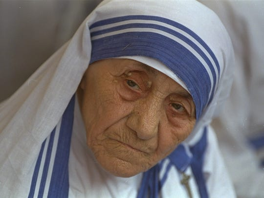 In this Aug. 25, 1993 file photo Mother Teresa, head of Missionaries of Charity, is photographed, in New Delhi,  India.