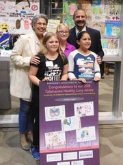 Superintendent Rocky Hanna with Canopy Oaks' art teacher Leslie Anderson and the school's participating student artists including  Cynthia Conte, center.