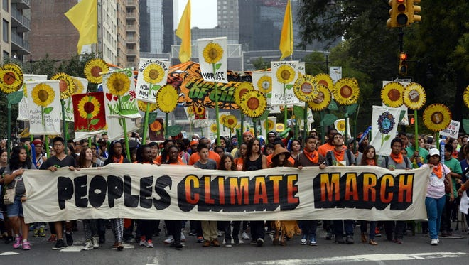 Climate change march in New York on Sunday.