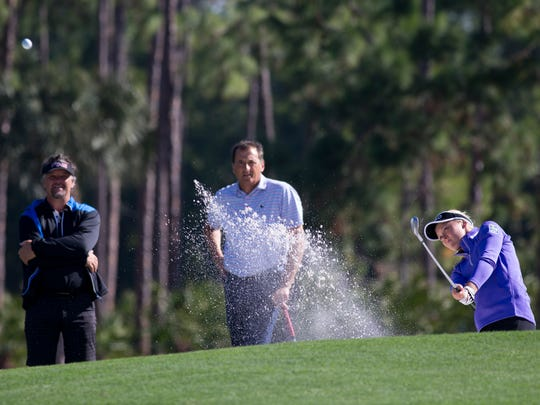LPGA Tour pro Brooke Henderson chips out of a sand bunker during the LPGA CME Group Tour Championship Pro-Am at Tiburon Golf Club Wednesday, Nov. 16, 2016 in Naples.