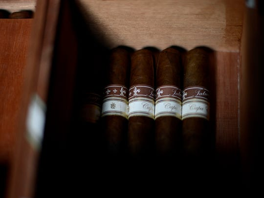 A box of Tatuaje cigars inside the humidor at Titletown Tobacco in Allouez. The shop will be moving downtown inside the Titletown Brewing expansion.