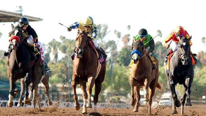 Forever Darling, second from left, wins Saturday's Santa Ynez Stakes.