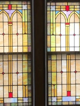 Original windows remain in place at Harris Chapel Church of the Nazarene near Selma.
