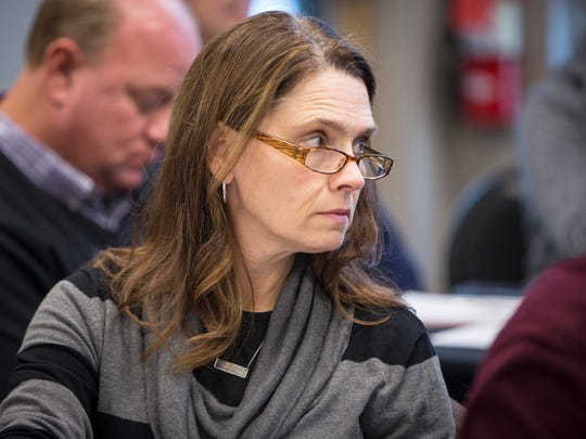 Elizabeth Rowray is shown at a meeting of the Yorktown School Board, to which she was elected in 2016, in this file photo.