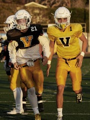 Ventura High running back Brock Mortensen, left, and