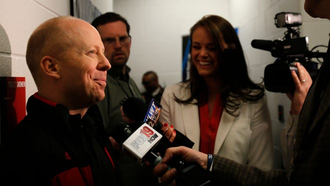 Cincinnati head basketball coach Mick Cronin speaks to the media in the locker room before the team took the court for practice, Wednesday, March 18, 2015, at the KFC Yum! Center in Louisville.