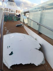 This image made available by Flavio Cadegiani shows damage to Royal Caribbean's ship Anthem of the Seas, Monday, Feb. 8, 2016.