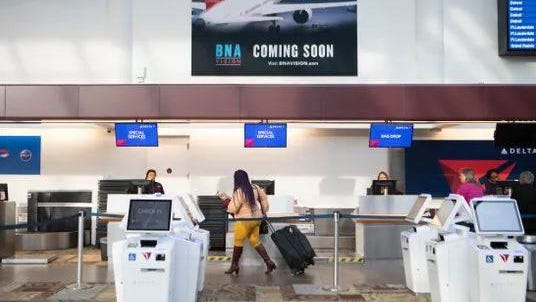 Less people arrive at Nashville International Airport due to the coronavirus and canceled flights on March 19 in Nashville.