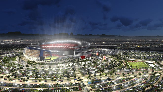 This artist rendering provided by MANICA Architecture shows an artist's rendering of a newly proposed NFL stadium in the city of Carson, Calif.