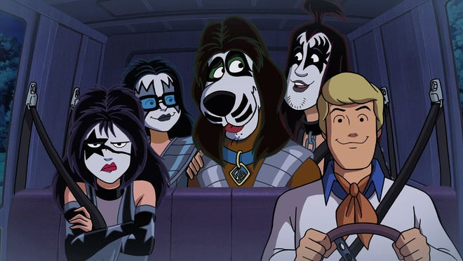 "Scooby-Doo and the gang get dressed up for a rock concert in ""Scooby-Doo! and Kiss: Rock and Roll Mystery."""
