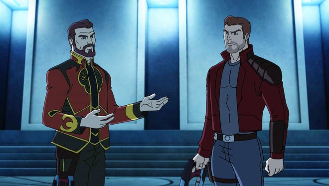 """J'Son of Spartax (voiced by Jonathan Frakes) has a chat with Star-Lord (Will Friedle) in the March 13 episode of """"Marvel's Guardians of the Galaxy."""""""