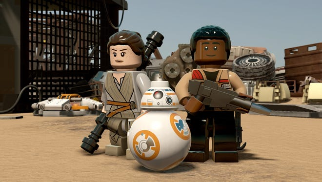 "New heroes Rey, BB-8 and Finn are playable in ""LEGO Star Wars: The Force Awakens."""