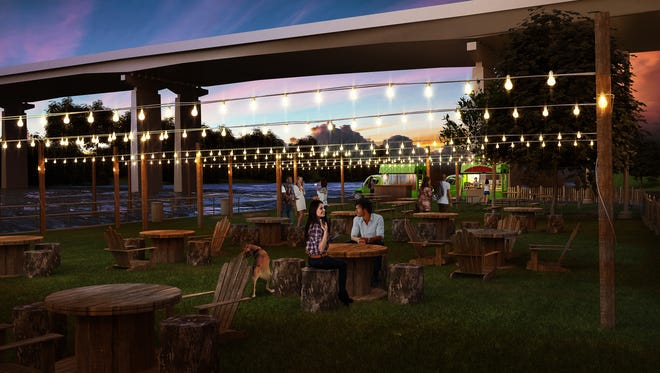 """A rendering of """"Parks on Tap"""" as it will appear on Schuylkill Banks by the Walnut Bridge."""