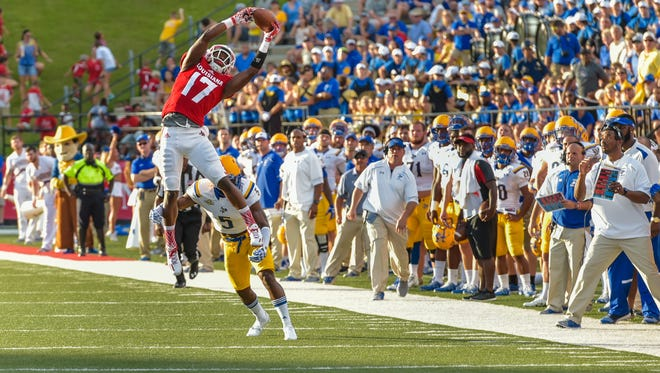 Ja'Marcus Bradley goes up for the catch as the Cajuns take on McNeese for the second game of the season. September 10, 2016.