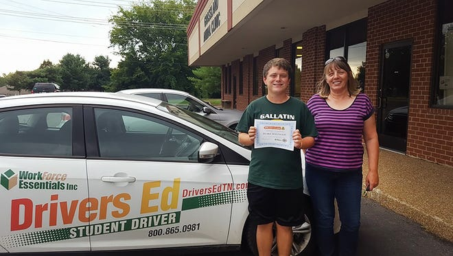 Blake Bollinger recently completed his drivers' education course through the Sumner Teen Center partially funded by a grant from the Tennessee Highway Safety Office. Above, Bollinger with driving instructor from Workforce Essentials, Brigitte Santiago.