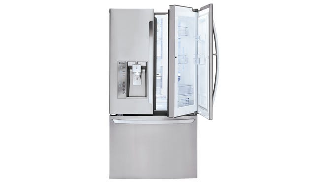 Stylish high-end. The French-door style, which has two separate doors for the fresh compartment and bottom freezer, has become the most popular style for homeowners who can afford the higher price tag. Bigger capacity and more features, like individual temperature control and dual evaporators keep foods fresher. This model also has a door-in-door feature that allows users to store often-used items in the main door, but a separate door to keep cold air in the refrigerator. LG 3-Door French Door Refrigerator with Door-in-Door, model LFXF32766S, $3,999 www.lg.com