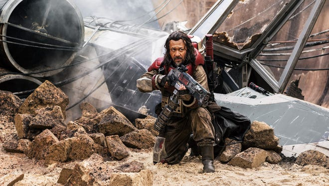 """Jiang Wen as Baze Malbus in  """"Rogue One: A Star Wars Story."""" The movie opens Thursday at Regal West Manchester Stadium 13, Frank Theatres Queensgate Stadium 13 and R/C Hanover Movies."""