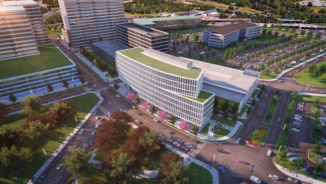 This rendering shows plans for Knights Crossing, a mixed-use development that includes Subaru, Campbell's Soup and other businesses near 10th and 11th streets in Camden.