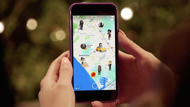 Snapchat users can now monitor their friends' location using a new feature called Snap Map, which shows users in Bitmoji form. (Snapchat/TNS)