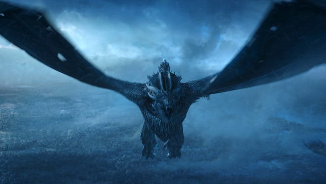 """This image released by HBO shows Vladimir Furdik as The Night King on the season finale of """"Game of Thrones."""" The series set yet another audience record Sunday with its seventh-season finale. Nielsen says an all-time high of 12.1 million viewers were tuned in to the wildly popular fantasy drama. An additional 4 million caught the episode on streaming channels."""