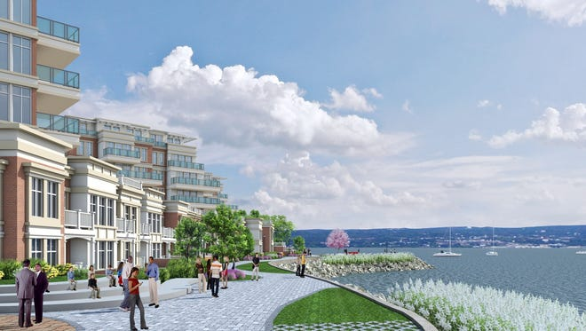 A rendering of the TZ Vista plan, or Gedney Street Project, along the Hudson in Nyack. The project architect is Julia Khomut, DCAK-MSA Architecture & Engineering.